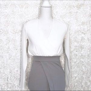 Boohoo Long sleeve two tone wrap dress